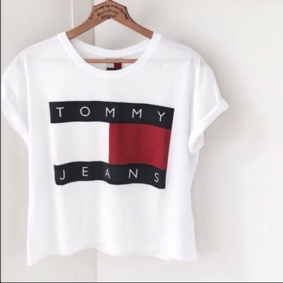 3b5beca4 Tommy Hilfiger Tops | Croptop Shirt Big Flag Logo | Poshmark